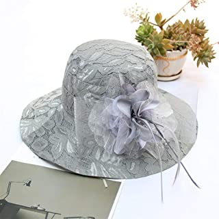 SHENTIANWEI 2019 Spring and Summer Bud Silk Gauze Flowers European and American Big Bucket hat Female Outdoor Sun hat Along Sun hat (Color : Grey, Size : Adjustable)