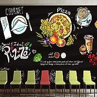 カスタム3D写真壁紙黒板手描きコーヒーピザケーキポスター壁画レストランカフェバーガーショップ壁の装飾紙, 200cm×140cm
