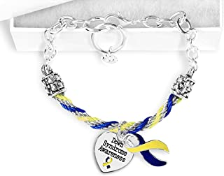 Fundraising For A Cause 12 Pack Down Syndrome Blue & Yellow Ribbon Partial Rope Bracelets Individually Bagged (12 Bracelets)