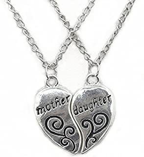 TTKB.HH 2 Pieces Silver Pendants Necklace Broken Heart Mother and Daughter Pendant Sweater Chain Fashion Jewelry Christmas Mom Birthday Gift
