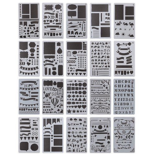 Bullet Tagebuch Schablone-Set, 20PCS Kunststoff Vorlage DIY Zeichnen Planer für Diary Notebook