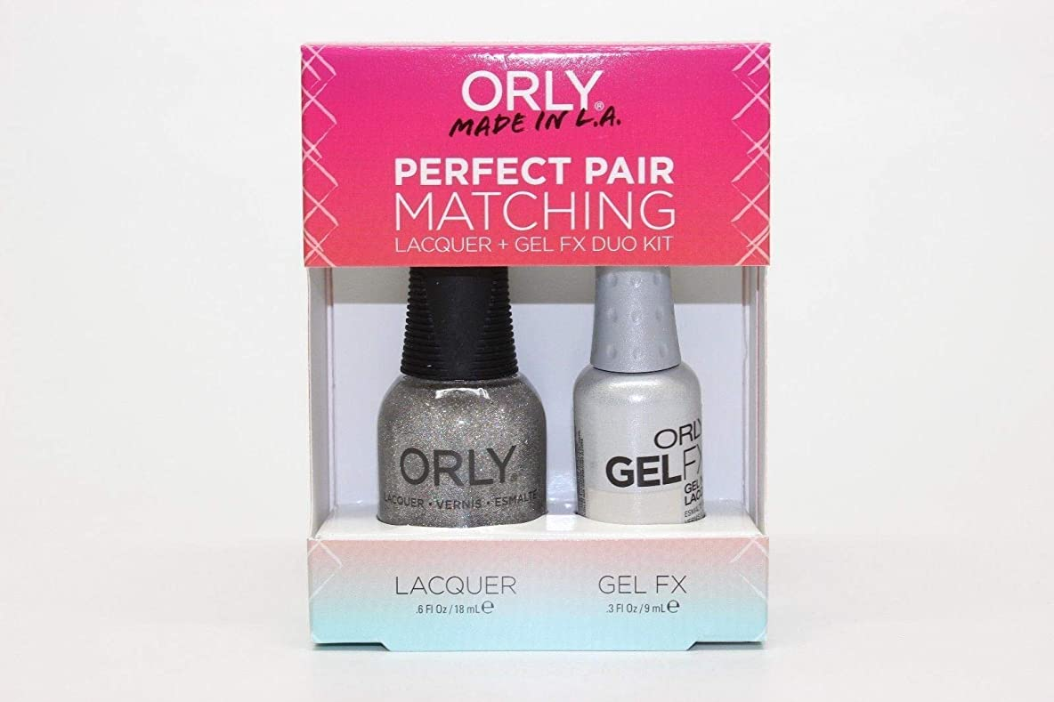 宿命評価可能霧深いOrly Lacquer + Gel FX - Perfect Pair Matching DUO Kit - Prisma Gloss Silver