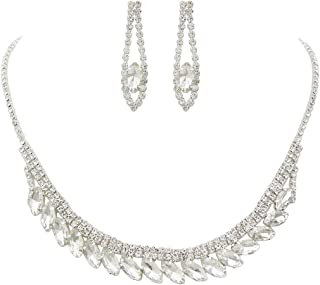 Rosemarie Collections Women's Marquise Crystal Rhinestone Statement Necklace Set