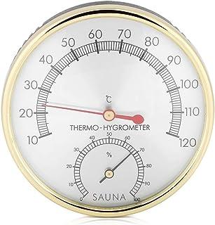 Delaman Accessoire Sauna - Thermomètre d'intérieur 2 en 1 à Cadran métallique + Hygromètre, Hygro-thermomètre