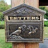 Cassetta delle lettere in stile retrò, stile vintage, per esterni, stile vintage, in ghisa, colore ossido antico, per uccelli a parete, colore: bronzo
