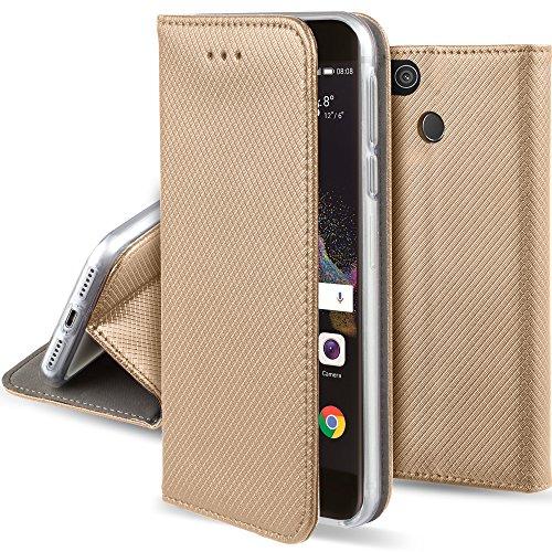Moozy Cover Custodia a Libro per Huawei P8 Lite 2017, Oro - Flip Smart Magnetica con Funzione di Appoggio