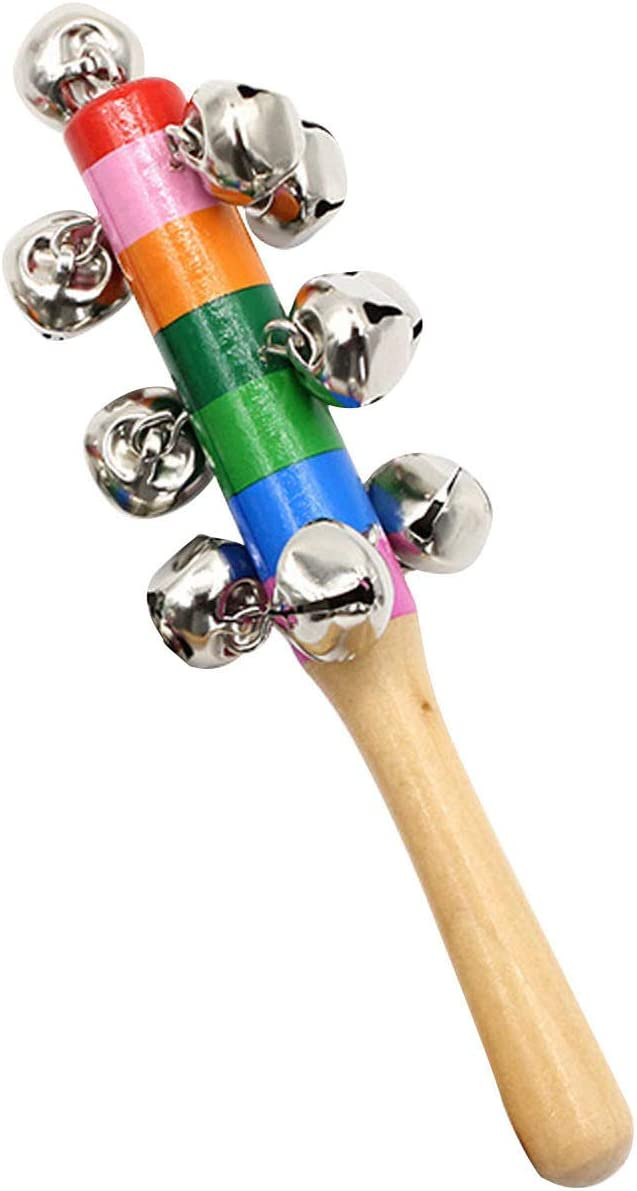 Colorful Wooden Hand Bell Jingle Bells Baby Percussion String Instrument Decoration Baby Kids Children Musical Toys 1pc