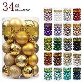 "KI Store 34ct Christmas Ball Ornaments Shatterproof Christmas Decorations Tree Balls for Holiday Wedding Party Decoration, Tree Ornaments Hooks Included 2.36"" (60mm Gold)"