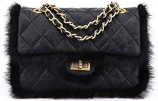 Solid Crossbody Bag Handbag Messenger Bag Shoulder Bag with Soft Fur for Women and Girls Shopping Dating (Shoulder bag-Black)