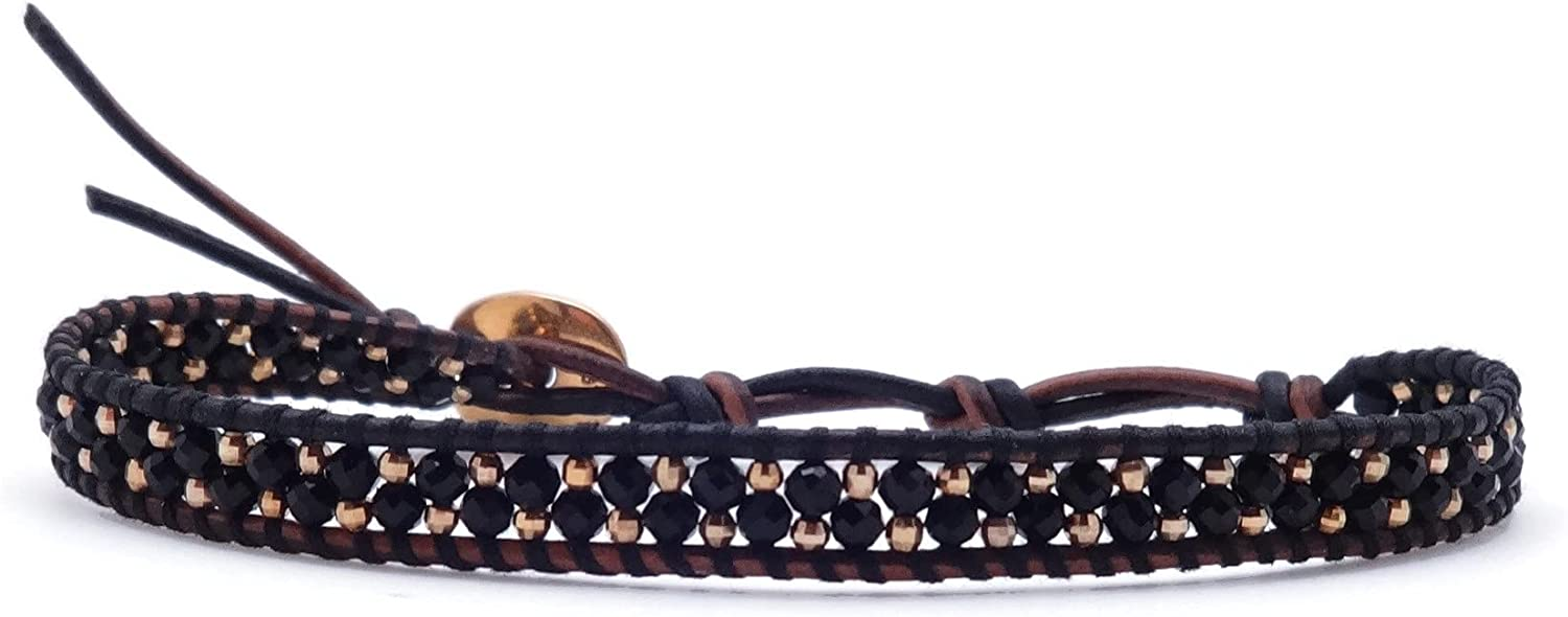 Chan Luu Black Mineral Stone and Detroit Mall Goldtone Max 84% OFF Brac Bead Leather Wrap