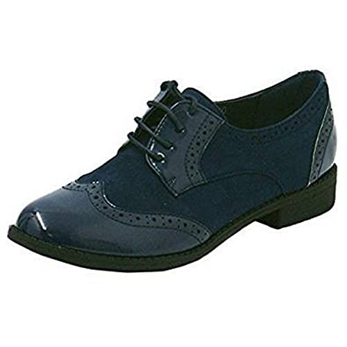 2d0b939c890d0 SHU CRAZY Womens Ladies Faux Patent Leather Suede Lace Up Flat Low Heel  Oxford Brogue Smart