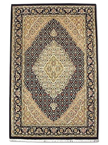 Tappeto tradizionale persiano fatto a mano Tabriz, lana/arte, seta (riflessi), nero, piccolo, 119 x 183 cm, 3' 28 cm x 6 (ft)