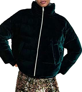 maweisong 女性のパッド付き厚冬冬襟ジッパーベロアダウンジャケットコート