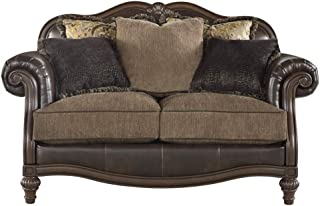 Ashley Furniture Signature Design - Winnsboro Traditional Style Faux Leather Loveseat - 5 Back Pillows - Vintage