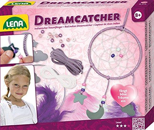 Lena manualidades atrapasueños con anillo de metal, papel de color – cordel, cola, plumas y colgante nube, luna y estrella, juego para niños a partir de 6 años, multicolor (SIMM Spielwaren GmbH 42699)