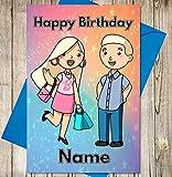 Dibujos animados barbie y ken personalizado tarjeta de cumpleaños–cualquier nombre y edad impreso en la parte delantera