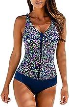 Chickwin Traje de Baño Mujer, Elegante Push-up con Cuello en V con Relleno Acolchado de Una Pieza Bikini Copas Bañador Tallas Grandes para Mujer