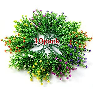 LUCKY SNAIL Artificial Flowers, Fake Outdoor Flowers UV Resistant, Lifelike Plastic Flowers for Indoor Outdoors Home Office Garden Wedding Sidewalk Trim Christmas Decorations…