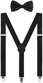Mens Suspenders and Bow Tie Set Adjustable Elastic Clip On Suspenders for Wedding by Grade Code