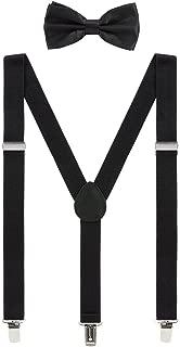 Mens Suspenders and Bow Tie Set Adjustable Elastic Clip On Suspenders for Wedding by Grade Code