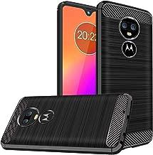 Moto G7 Case, Moto G7 Plus Case, Dretal Shock-Absorption Slim Fit Flexible TPU Case Brushed Texture Soft Rubber Protective Cover for Motorola Moto G7 / G7 Plus (Black)