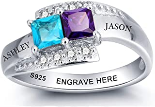 Lam Hub Fong Personalized Sterling Silver Couples Promise Rings for Her Engagement Wedding Rings Women Mothers Mom Rings with 2 Simulated Birthstones