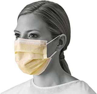 Medline NON27122 Isolation Face Masks with Earloops, Polypropylene, Latex Free, Yellow (Pack of 300)