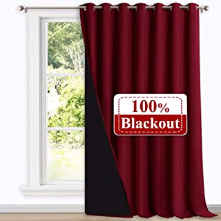 NICETOWN Thermal Insulated 100% Blackout Drape, Noise Reducing Slider Curtain Panel with..