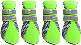 4 Bottes Hydrofuge Anti-dérapant Chaussures Chaussette Protection pour Animaux Chiot Chien - Vert, XL