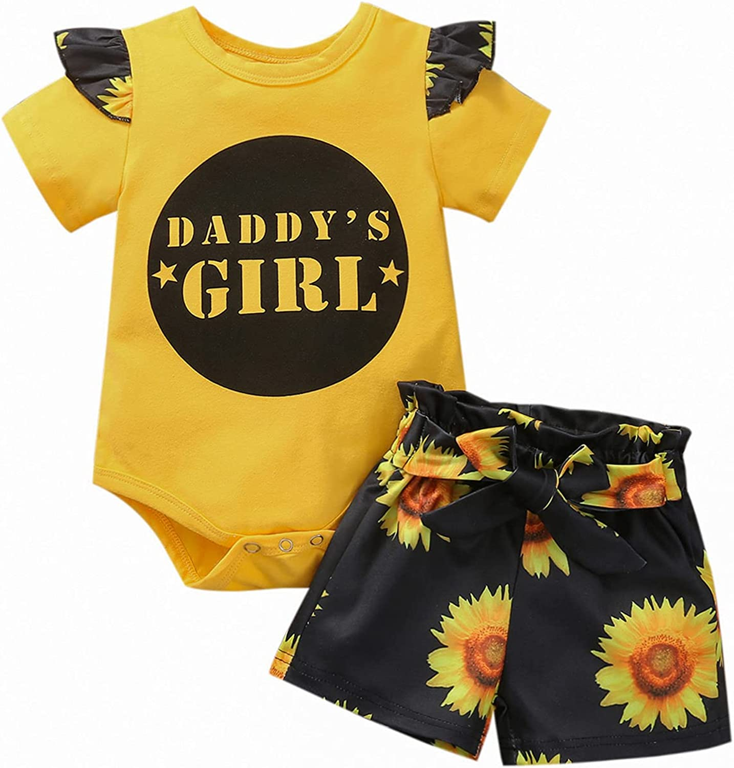 Newborn Infant Baby Girl Clothes Ruffled Sleeve Bodysuit Letter Romper Top Camo Shorts Set Summer Outfits