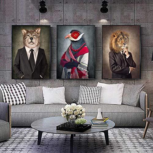 Pintura en lienzo Animales en tela Estilo retro Arte de la pared El león viste traje Póster Lobo Elefante Impresión Imagen Sala de estar Decoración-40x50cmx3 Sin marco