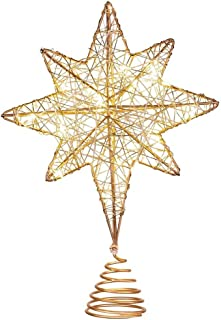 WZHZJ Iron Glitter LED Light Warm Light Xmas Treetop Star Christmas Tree Topper Star for Shopping Mall Office Party Home
