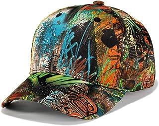 WUKE Baseball Cap, Adult/Unisex Green Personality Graffiti Style Polyester Embroidery Curved Brim,