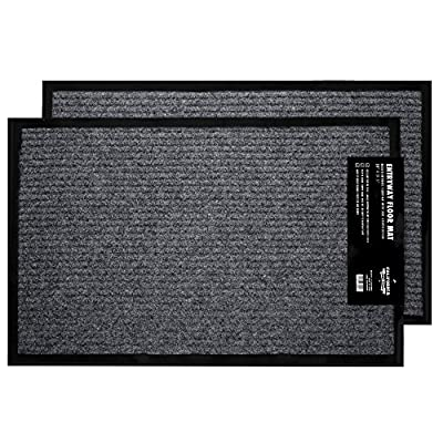 "2 Pack - Ribbed Indoor Outdoor Rug for Entrance, Floor Mat with Shoe Scraper & Rubber Backing, Entryway Rug for High Traffic Areas, 17.5"" x 29.5"", Grey & Black by California Home Goods"