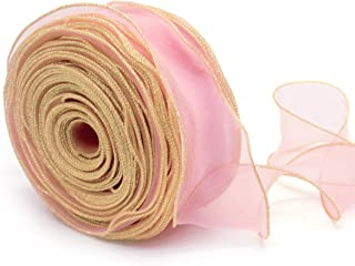 NICROLANDEE Blush Pink Gold Overlock Sheer Craft Ribbon Wave Designed 2.2 Inch by 38 Yards for Gift Package Wrapping Chair Sashes Bow Wedding Wreath Decorations Valentines Bouquet Wrap Organza Fabric