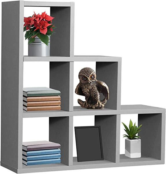 Sorbus Floating Shelf Floating Shelf Stepped 6 Cubby Stair Wall Shelf With 6 Openings Decorative Hanging Display For Photo Frames Collectibles And Home D Cor Geometric Stepped Grey