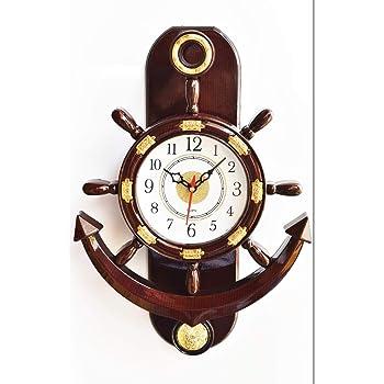 Click n Ship Plastic Pendulum Wall Clock (Brown)
