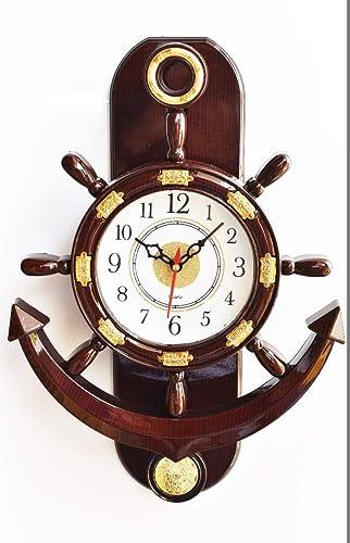 Click N Ship Plastic Pendulum Wall Clock Brown