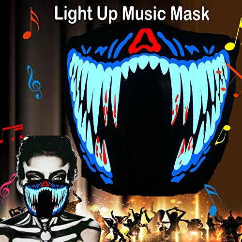 Halloween Mask Neon Mask led mask Scary Mask Light up Mask Cosplay Mask Lights up for Halloween Festival Party (Blood Teeth)