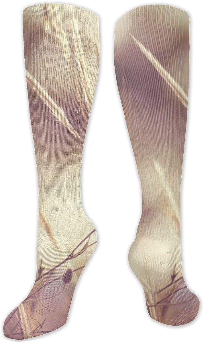 Yellow Grass Knee High Socks Leg Warmer Dresses Long Boot Stockings For Womens Cosplay Daily Wear