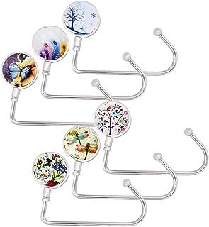 6 Pack Purse Hook Long Handbag Hanger for Table Desk, Creatiee Portable Bag Holder Under Counter Handbags Hook for Women G...