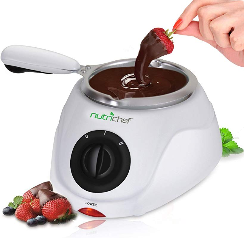 Chocolate Melting Warming Fondue Set 25W Electric Choco Melt Warmer Machine Set W Keep Warm Dipping Function Removable Pot Melts Chocolate Candy Butter Cheese Caramel NutriChef PKFNMK14