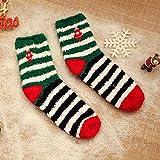 ROUNDER Nuevos Calcetines de Lana de Coral Espesan Calcetines de Navidad cálidos Calcetines Bordados de Media Lana para el hogar-Campana Horizontal