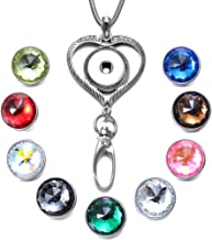 Soleebee 31.5 inches Stainless Steel Lanyard ID Badge Necklace Bonus 9pcs Facets Crystal Glass Snap Charms (Love Heart)