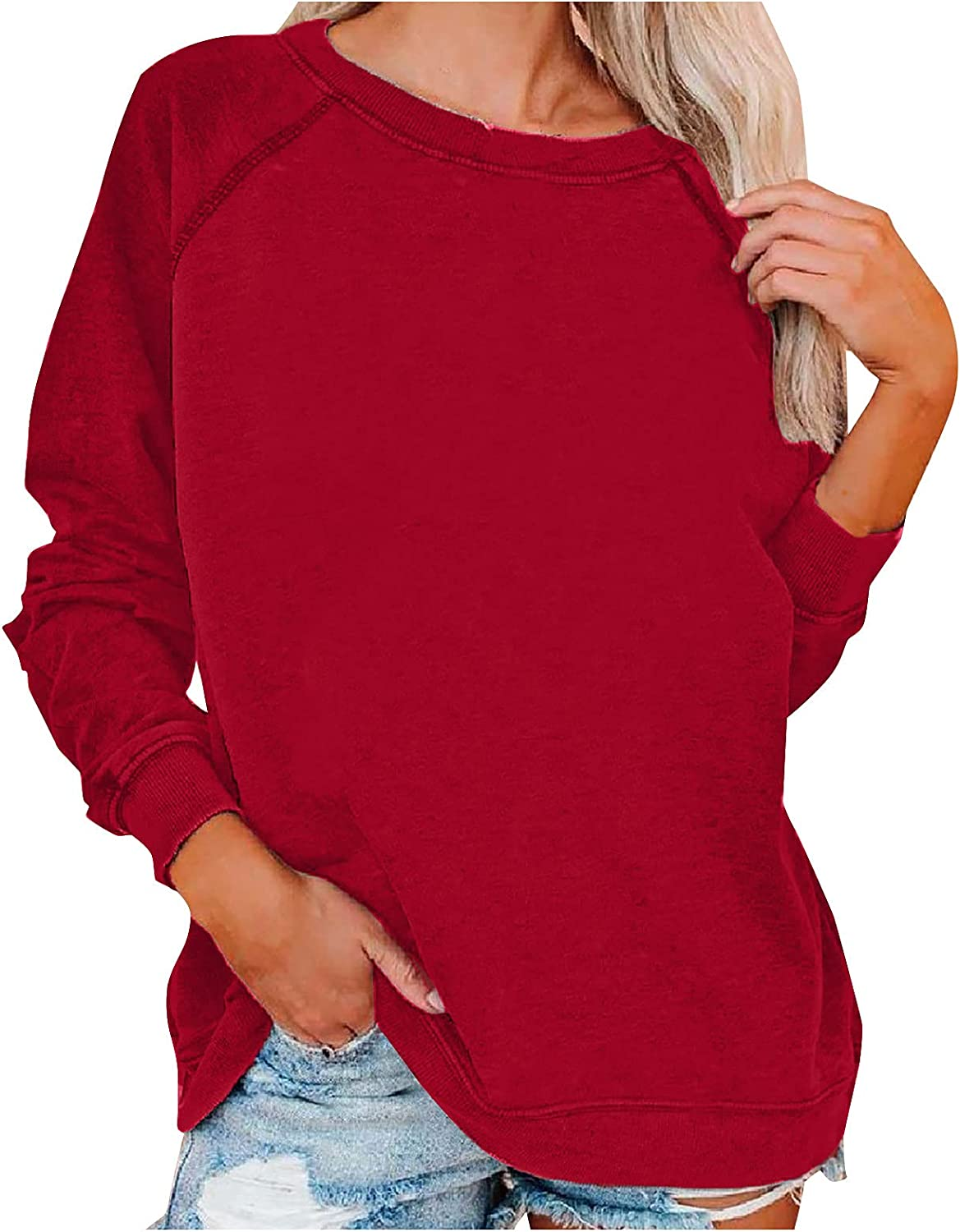 raillery Womens Max 68% OFF Fashion Solid Color N SweaterLong Print Credence Sleeve O