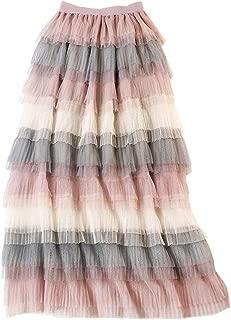 Femirah Women's Long Rainbow A Line Tulle Tutu Skirts Tiered Skirt Petticoat
