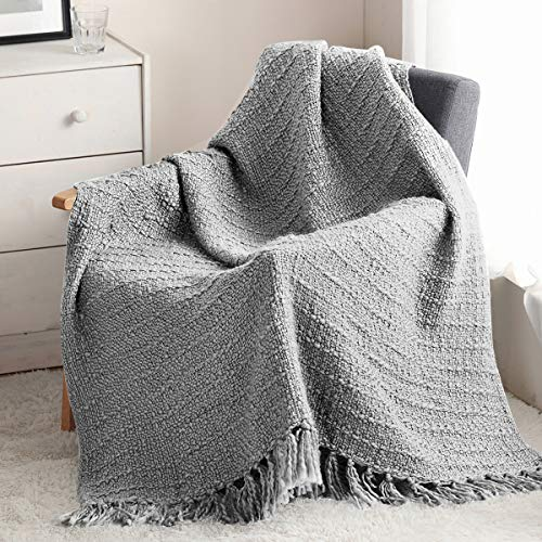 ZIGGUO Thick Chunky Grey Knitted Throw Blanket for Couch Chair Sofa Bed, Chic Boho Style Textured Basket Weave Pattern Blanket with Decorative Fringe, 50'x60'
