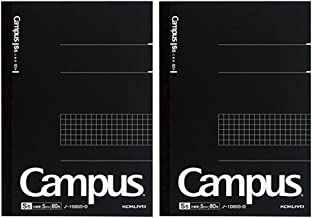 Kokuyo Campus Pre-Dotted Notebook, Semi A5, 5mm Grid Ruled - 80 Sheets - 160 Pages, Black (2 pack)