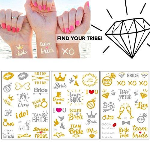Tatuajes para despedida de soltera, diseño de novia temporal, impermeables, dorado, plateado,...