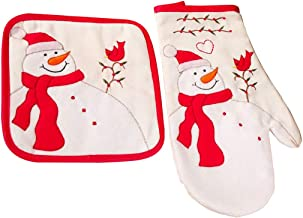 Coxeer 2PCS Christmas Oven Mitt Multipurpose Heat Resistant Kitchen Gloves Hot Pot Pad